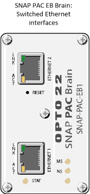 Opto 22 SNAP PAC EB brain has two switched Ethernet interfaces