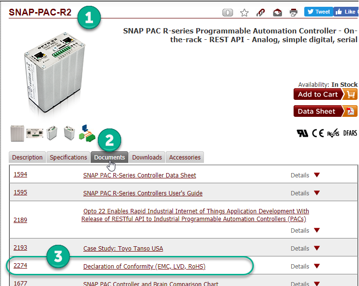 SNAP-PAC-R2 product page on Opto 22 website, showing Declarations of Conformity