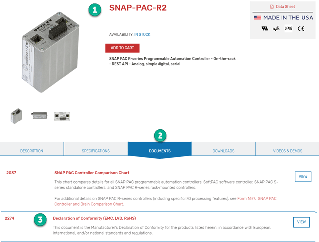 SNAP-PAC-R2 product page on preview Opto 22 website, showing Declarations of Conformity