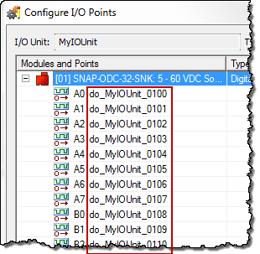 I/O points automatically configured