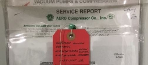 Compressor service report package