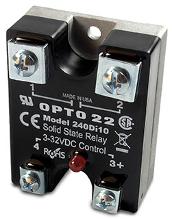 An Opto 22 240Di10 solid-state relay (SSR)