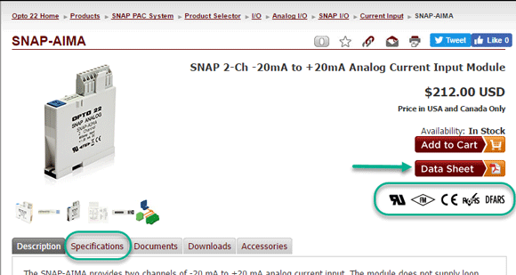 Find agency approval symbols on an Opto 22 website product page