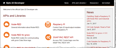 Opto 22 developer website has information about RESTful APIs, software development kits