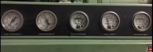 Compressor's analog gauges for visual use only