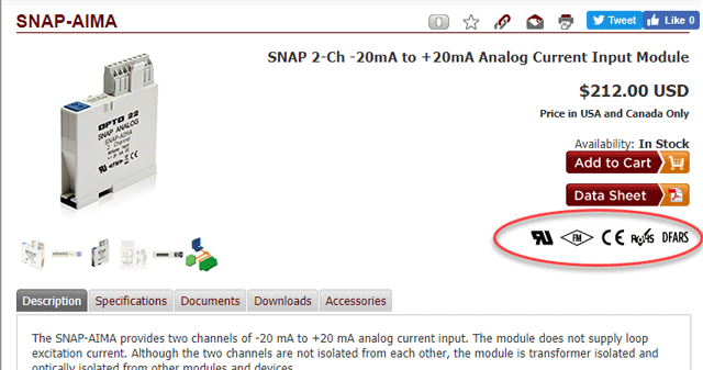 SNAP-AIMA product page showing agency approval icons