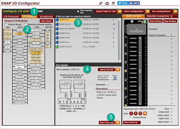 SNAP I/O Configurator helps you choose your I/O module