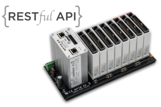 Opto 22 rack-mounted SNAP PAC controller with a RESTful API