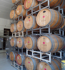 Wine barrels at Scheid Vineyards