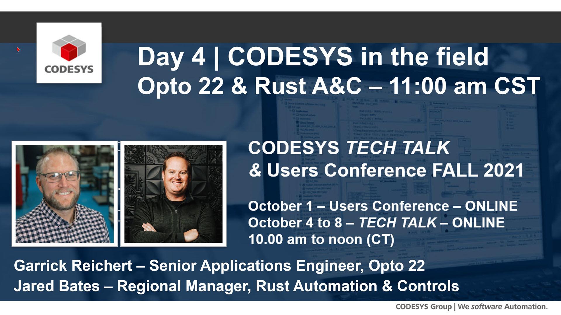Join us at the Fall 2021 CODESYS Tech Talk