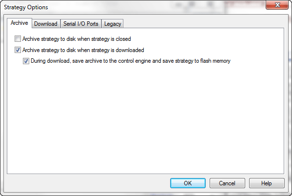 Archive PAC Control strategy dialog box